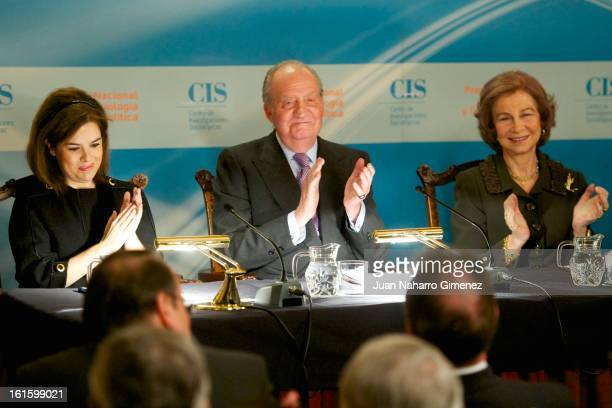 First deputy prime minister government spokeswoman and minister of the prime minister's office Soraya Saenz de Santamaria King Juan Carlos od Spain...