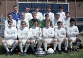 First Division Champions Leeds United pose with the League Championship Trophy at Elland Road in Leeds 29th July 1969 Back row Don Revie Paul Reaney...
