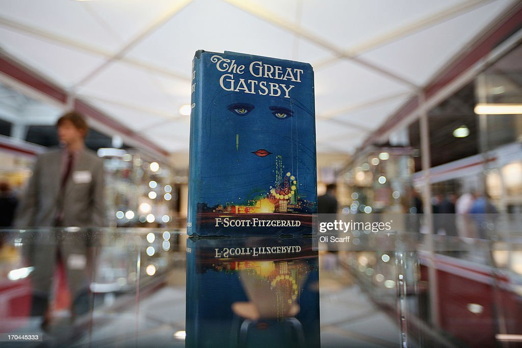 A first edition of F Scott Fitzgerald's 'The Great Gatsby' at the London International Antiquarian Book Fair in the Olympia exhibition centre on June 13, 2013 in London, England. The Antiquarian Booksellers' Association was founded in 1906 and their book fair is the oldest in the UK having run for 56 years. It attracts approximately 200 book dealers from around the world, selling fascinating and rare books, maps, prints and manuscripts.