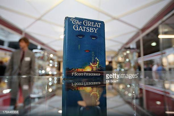 A first edition of F Scott Fitzgerald's 'The Great Gatsby' at the London International Antiquarian Book Fair in the Olympia exhibition centre on June...