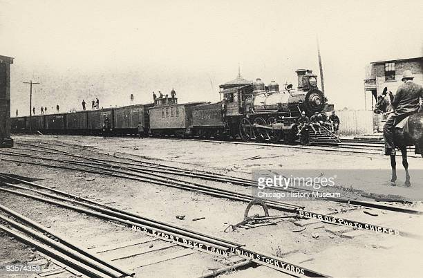 First export beef train to leave the Chicago Union Stockyards during the Pullman railroad strike Chicago 1894