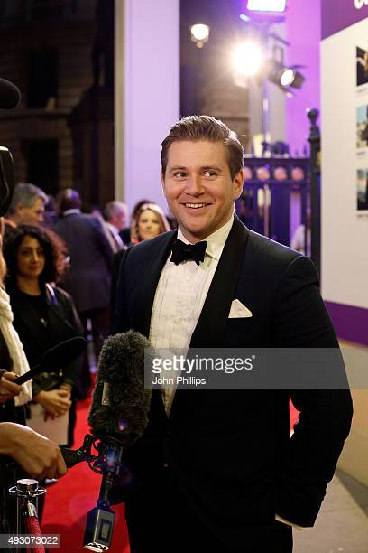 First Feature Competition Juror Allen Leech talks to a reporter as he attends the BFI London Film Festival Awards at Banqueting House on October 17...