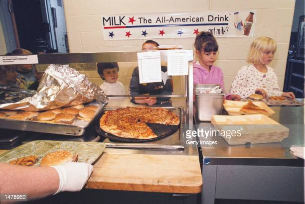 First graders get their lunch in the cafeteria during lunch October 15 2002 at North Hampton School in North Hampton New Hampshire North Hampton...