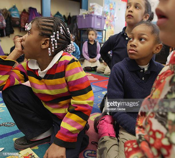 First graders left to right Zamya Watkins Shade Jiles and Angeline Cromartie learned subtraction by using calendar numbers at the HigginsonLewis K8...
