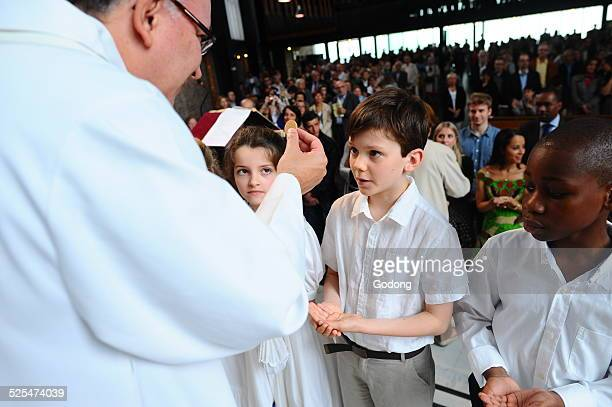 First holy communion in a catholic church