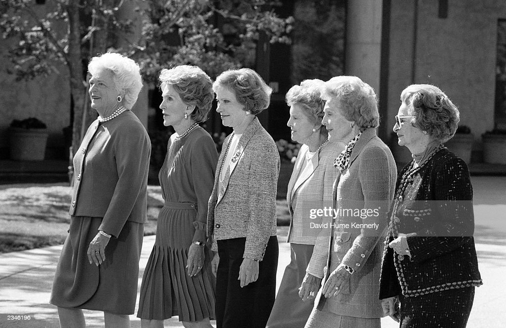 U.S. First Ladies (L-R) Barbara Bush, Nancy Reagan, Rosalynn Carter, Betty Ford, Pat Nixon, and Lady Bird Johnson attend former President Ronald Reagan's Library dedication November 4, 1991 in Simi Valley,California.