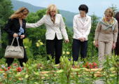 G8 First Ladies from left Margarida Barroso of European Commission Laureen Harper of Canada Kiyoko Fukuda of Japan and Laura Bush of the US view...