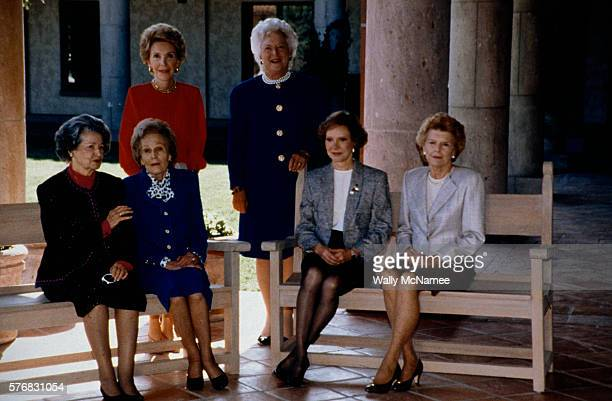 First Lady Barbara Bush gathers with former First Ladies for a portrait after the dedication of the Ronald Reagan Presidential Library in Simi Valley...