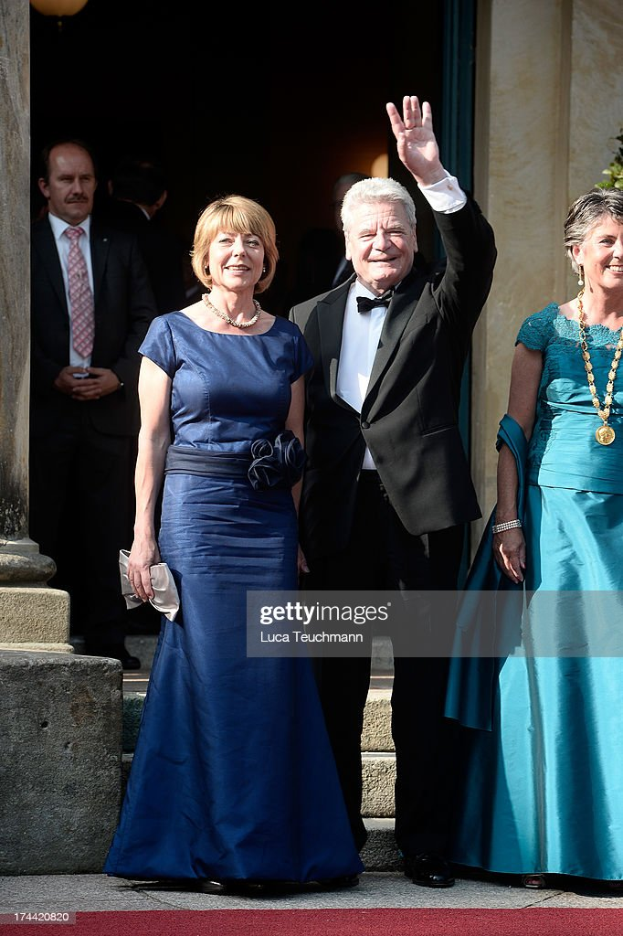 First Lady Daniela Schadt and German President Joachim Gauck attend the Bayreuth Festival opening on July 25, 2013 in Bayreuth, Germany.