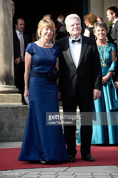 First Lady Daniela Schadt and German President Joachim Gauck attend the Bayreuth Festival opening on July 25 2013 in Bayreuth Germany