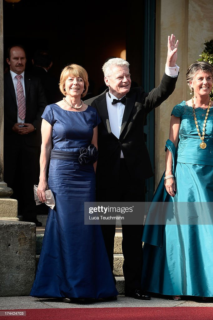 First Lady <a gi-track='captionPersonalityLinkClicked' href=/galleries/search?phrase=Daniela+Schadt&family=editorial&specificpeople=7055235 ng-click='$event.stopPropagation()'>Daniela Schadt</a> and German President <a gi-track='captionPersonalityLinkClicked' href=/galleries/search?phrase=Joachim+Gauck&family=editorial&specificpeople=2077888 ng-click='$event.stopPropagation()'>Joachim Gauck</a> attend the Bayreuth Festival opening on July 25, 2013 in Bayreuth, Germany.