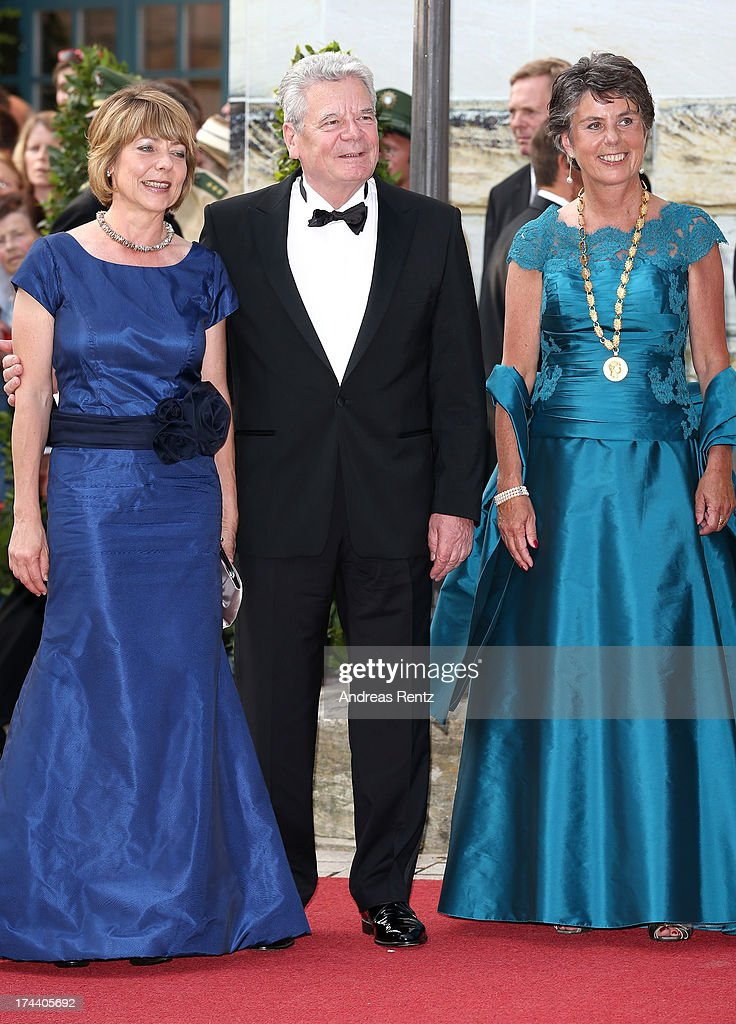 First Lady Daniela Schadt, German President Joachim Gauck and mayor of Bayreuth Brigitte Merk-Erbe attend Bayreuth Festival Opening 2013 on July 25, 2013 in Bayreuth, Germany.