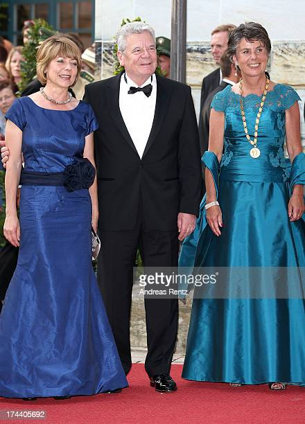 First Lady Daniela Schadt German President Joachim Gauck and mayor of Bayreuth Brigitte MerkErbe attend Bayreuth Festival Opening 2013 on July 25...