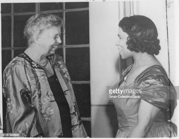 First Lady Eleanor Roosevelt and Marian Anderson prominent singer and 'goodwill ambassadress' for the US Department of State in Japan May 22 1953