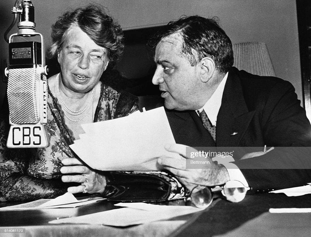 First Lady <a gi-track='captionPersonalityLinkClicked' href=/galleries/search?phrase=Eleanor+Roosevelt&family=editorial&specificpeople=93348 ng-click='$event.stopPropagation()'>Eleanor Roosevelt</a> and New York City Mayor <a gi-track='captionPersonalityLinkClicked' href=/galleries/search?phrase=Fiorello+La+Guardia&family=editorial&specificpeople=93387 ng-click='$event.stopPropagation()'>Fiorello La Guardia</a> make a joint broadcast from New York calling on all communities to set up a local defense council in an extension of civilian defense. Both were directors for the Office of Civilian Defense.