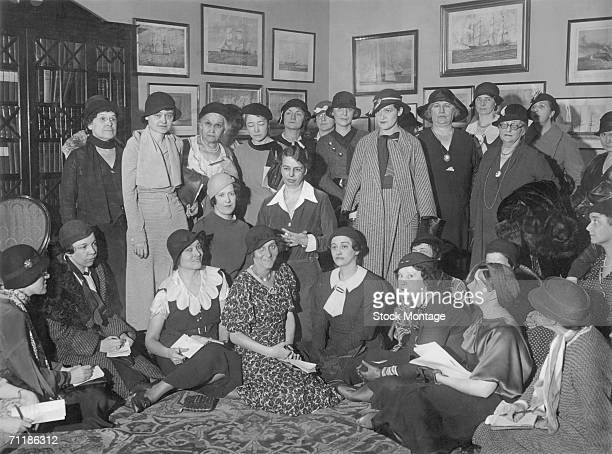 First Lady Eleanor Roosevelt poses with a group of newswomen at a press conference March 13 1933