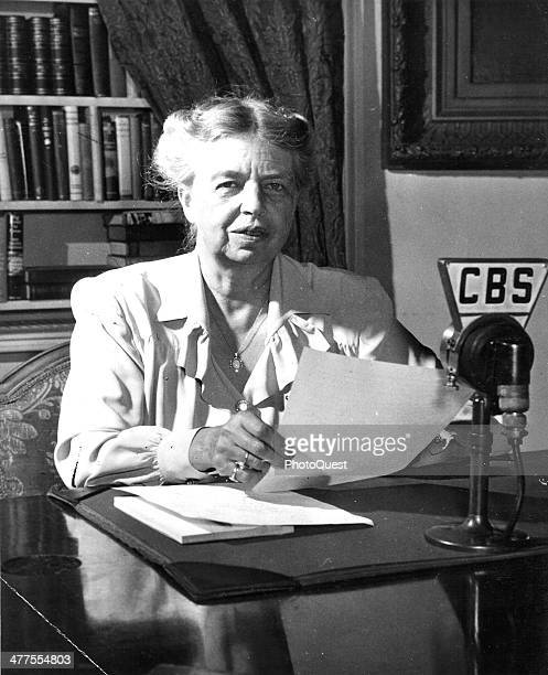 US First Lady Eleanor Roosevelt speaks into a CBS radio microphone Washington DC October 11 1944