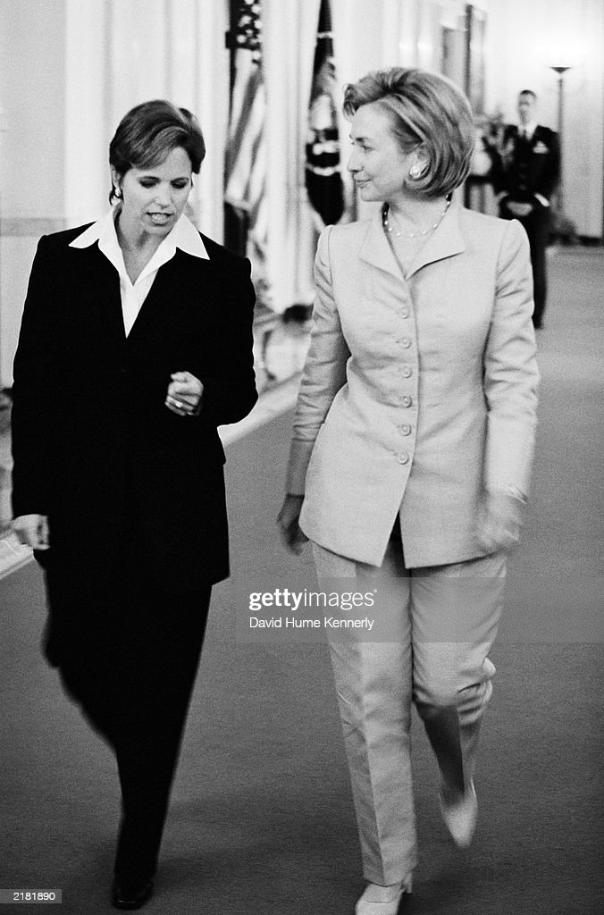 US First Lady Hillary Clinton and NBC 'Today Show' television host Katie Couric talk during a colon cancer event in the East Room of the White House...