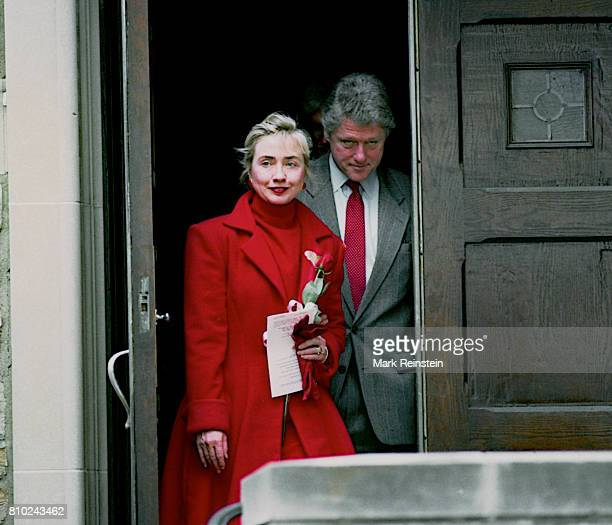 US First Lady Hillary Clinton and President Bill Clinton leave the First Baptist Church of the City of Washington DC after a service Washington DC...