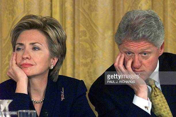 First Lady Hillary Clinton and US President Bill Clinton listen to testimonials from a wide range of individuals about half way through the fourhour...