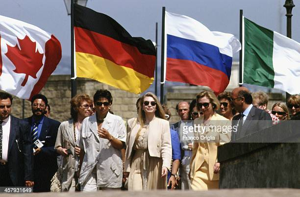 First Lady Hillary Clinton and Veronica Lario Second wife of Italian Prime Minister Silvio Berlusconi during the G7 Summit on July 9 1994 in Naples...