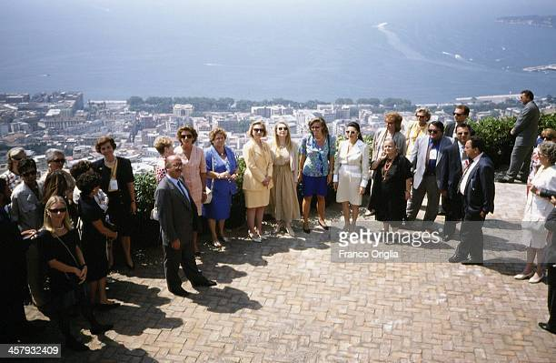 First Lady Hillary Clinton and Veronica Lario Second wife of Italian Prime Minister Silvio Berlusconi pose during the G7 Summit on July 9 1994 in...