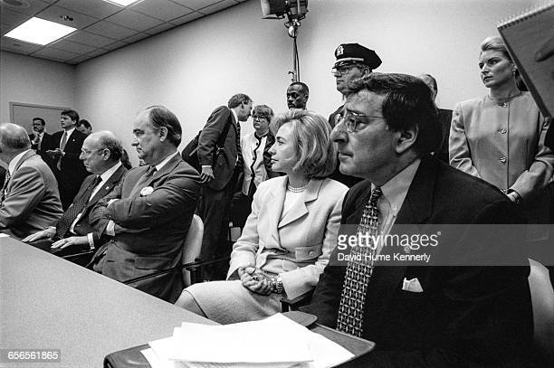 First Lady Hillary Clinton and White House Chief of Staff Leon Panetta listen during a briefing in New York on July 26 1996 on the crash of TWA...