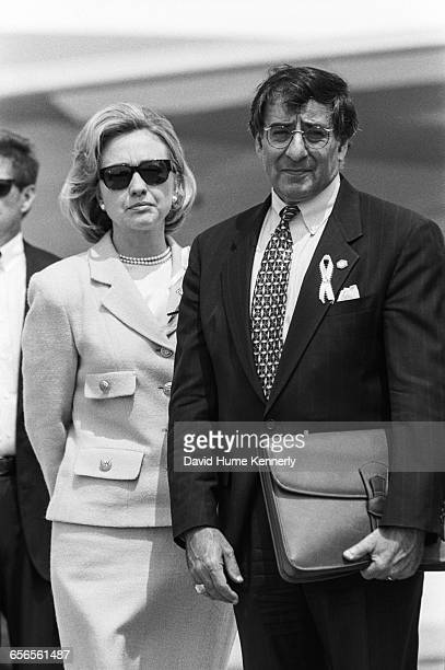 First Lady Hillary Clinton and White House Chief of Staff Leon Panetta at JFK Airport in New York on July 26 1996 The President traveled to New York...