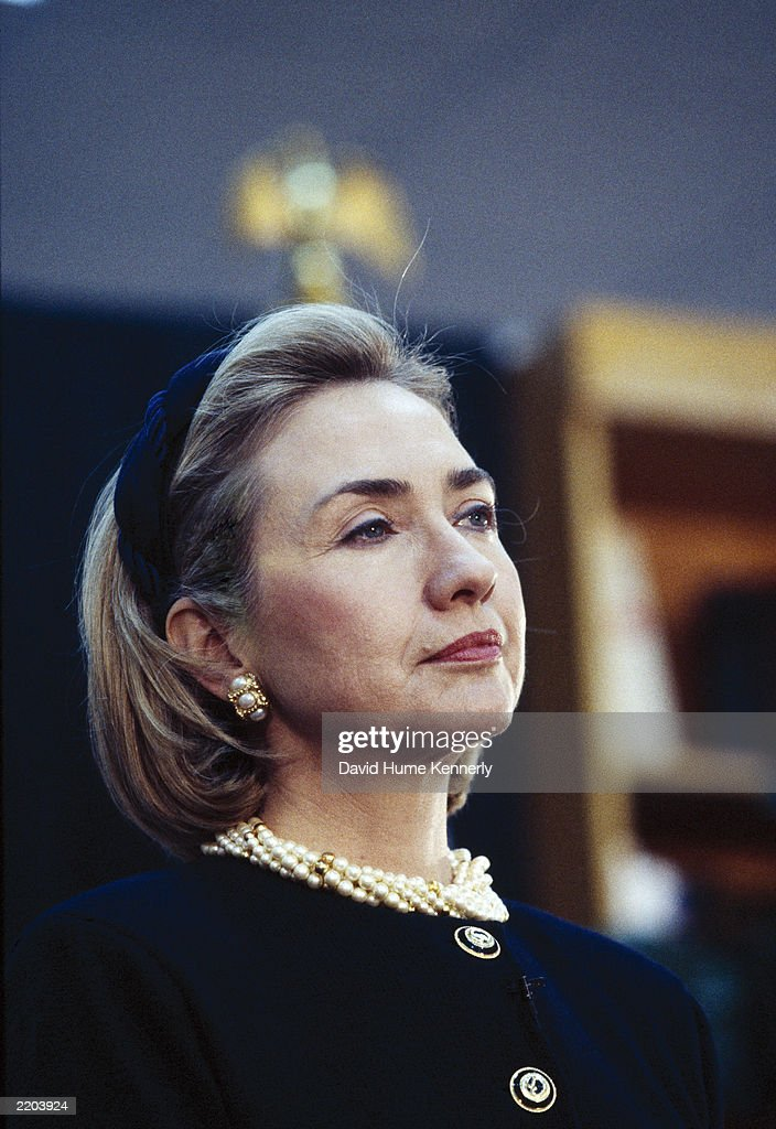 US First Lady Hillary Clinton attends an event at the White House November 13 1997 in Washington DC