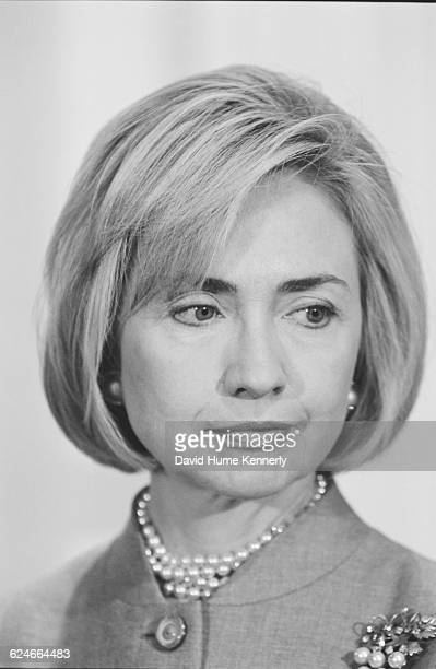 First Lady Hillary Clinton attends an event in the White House Roosevelt Room on January 29 1998