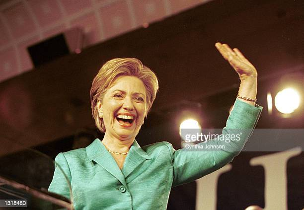 First Lady Hillary Clinton celebrates her senate victory on election night at the Grand Hyatt Hotel November 7 2000 in New York City
