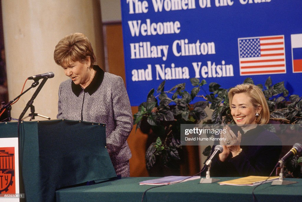 S First Lady Hillary Clinton listens to an address by Mrs Naina Yeltsin wife of the Russian President Boris Yeltsin as she speaks through an...