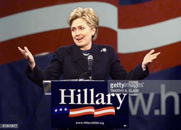 First Lady Hillary Clinton officially announces her candidacy for the Democratic US Senate seat from New York at the State University of New York...