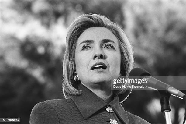 First Lady Hillary Clinton speaking at the University of Nevada Las Vegas while campaigning for her husband's reelection on October 22 1996