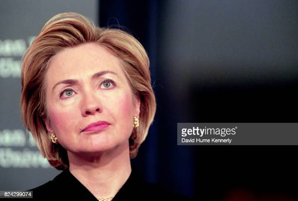 First Lady Hillary Clinton speaks at a ceremony for the 50th anniversary of the adoption of the Universal Declaration of Human Rights in the old...