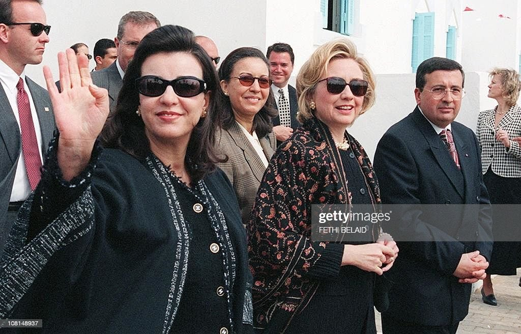 US First Lady <a gi-track='captionPersonalityLinkClicked' href=/galleries/search?phrase=Hillary+Clinton&family=editorial&specificpeople=76480 ng-click='$event.stopPropagation()'>Hillary Clinton</a> (C), Tunisia First Lady <a gi-track='captionPersonalityLinkClicked' href=/galleries/search?phrase=Leila+Ben+Ali&family=editorial&specificpeople=3198746 ng-click='$event.stopPropagation()'>Leila Ben Ali</a> (L) and Secretary of State of the National Solidarity Fund (NSF), Kamel Haj Sassi (R) visit the National Solidarity Fund, created by President Ben-Ali during her three-day visit in Tunisia 26 March 1999. <a gi-track='captionPersonalityLinkClicked' href=/galleries/search?phrase=Hillary+Clinton&family=editorial&specificpeople=76480 ng-click='$event.stopPropagation()'>Hillary Clinton</a> denounced Friday violence perpetrated by Islamic extremists in Algeria and Afhganistan, especially that against women.