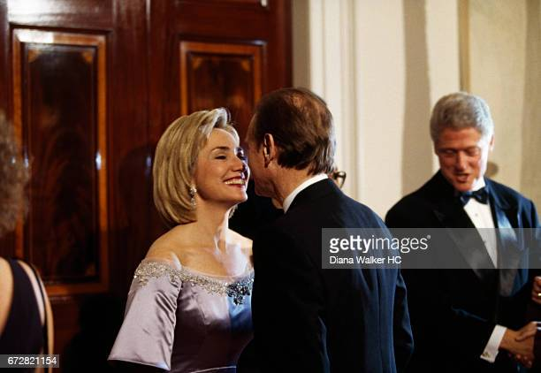First Lady Hillary Rodham Clinton greets Harold Ickes former deputy chief of staff to President Clinton in the receiving line for a state dinner...