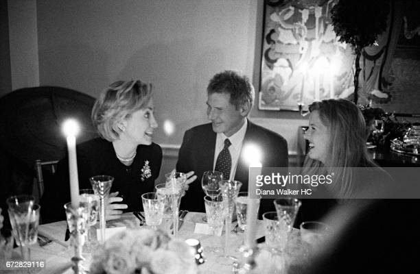 First Lady Hillary Rodham Clinton is photographed with actor Harrison Ford and Kareena Gore Schiff on December 2 1998 at the home of Richard...
