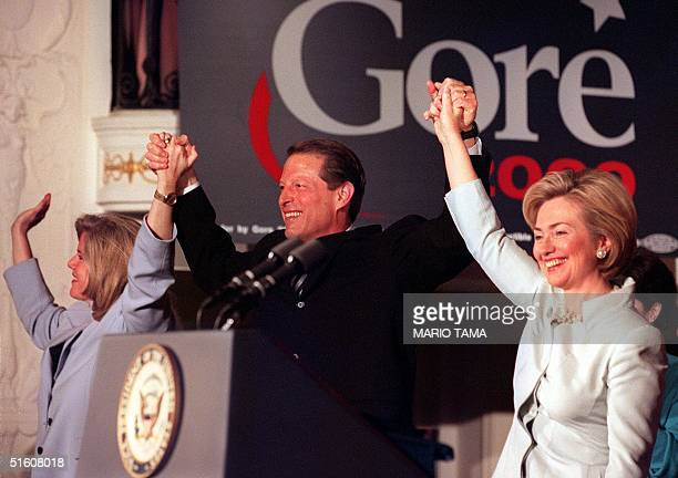 First Lady Hillary Rodham Clinton with Vice President Al Gore and Tipper Gore at a 'Women for Gore' event in Washington DC where Hillary Clinton...