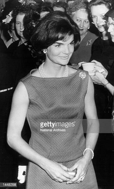 First Lady Jackie Kennedy attends a White House ceremony April 20 1962 in Washington DC