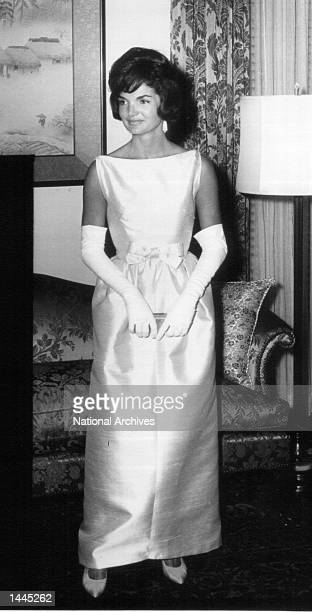 First Lady Jackie Kennedy attends a White House ceremony June 22 1961 in Washington DC