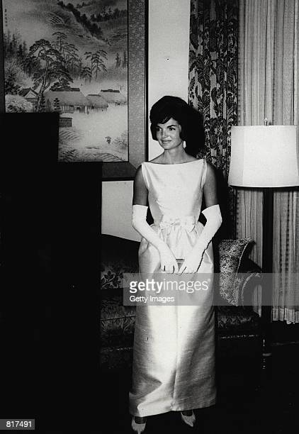 First Lady Jacqueline Bouvier Kennedy attends dinner with the Prime Minister of Japan at the Japanese Embassy June 21 1961 in Washington DC