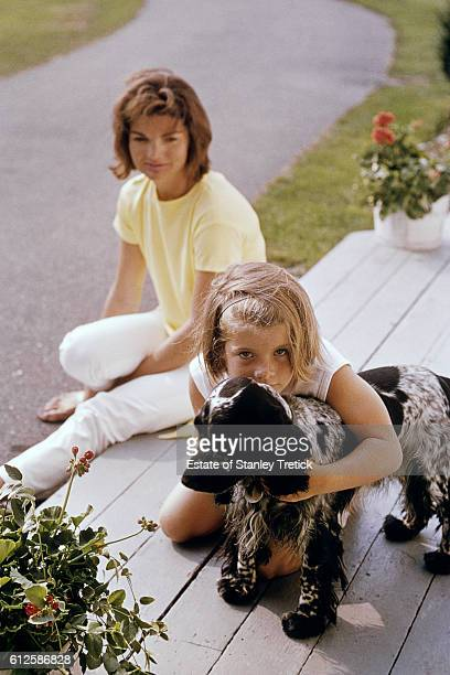First Lady Jacqueline Lee 'Jackie' Bouvier Kennedy with her daughter Caroline in Hyannis Port in 1964 sometime after the President's assassination