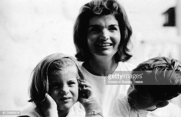 First Lady Jacqueline Lee 'Jackie' Bouvier Kennedy with her son John F Kennedy Jr and daughter Caroline in Hyannis Port in 1964 sometime after the...