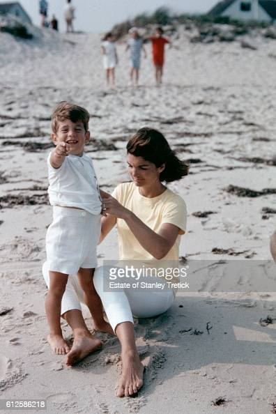 First Lady Jacqueline Lee 'Jackie' Bouvier Kennedy with her son John F Kennedy Jr in Hyannis Port in 1964 sometime after the President's assassination
