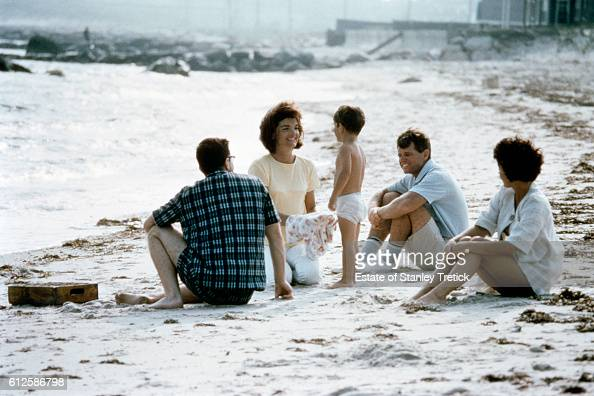 First Lady Jacqueline Lee 'Jackie' Bouvier Kennedy with her son John F Kennedy Jr and her brotherinlaw Robert F Kennedy in Hyannis Port in 1964...