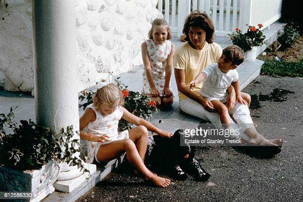 First Lady Jacqueline Lee 'Jackie' Bouvier with her son John F Kennedy Jr in Hyannis Port in 1964 sometime after the President's assassination