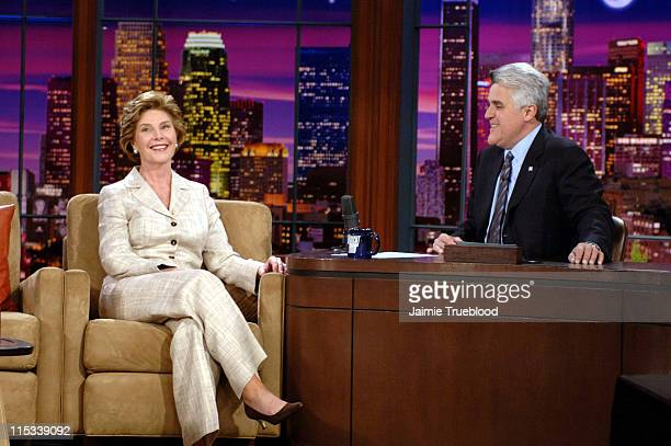 First Lady Laura Bush and Jay Leno during First Lady Laura Bush Visits 'The Tonight Show with Jay Leno' April 26 2005 at NBC Studios in Los Angeles...