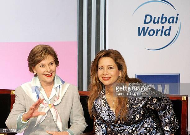 US First Lady Laura Bush and Jordan's Princess Haya Bint alHussein wife of Emirati Sheikh Mohammed bin Rashid alMaktoum Vice President and Prime...