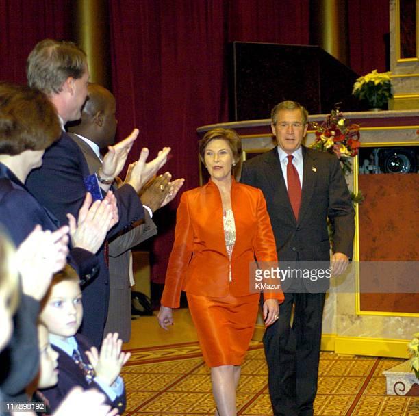 First Lady Laura Bush and President George W Bush